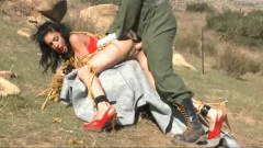 Hornt brunette gets humiliated outdoors - duration 07:48