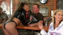 Naughty babes torturing their bartender - duration 05:27