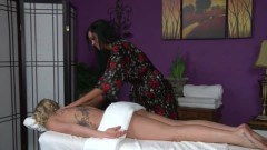 A tattooed blonde getting massaged - duration 05:10