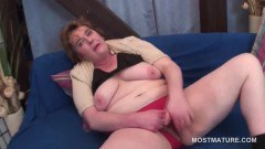 Lusty mature tramp toying her old snatch with a dildo  - duration 05:10