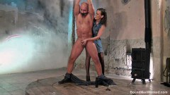 Bound dude wanked by a chick - duration 13:01