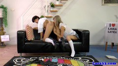 Hot MILF Lara engaging in a lesbian threesome with two schoolgirls - duration 09:59