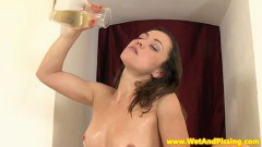 Piss loving brunette getting wet - duration 07:59