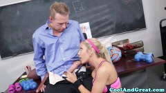 Sporty blonde teens fucking the teacher - duration 07:59