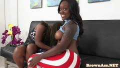 Two busty pierced ebonies ger pumped - duration 07:59