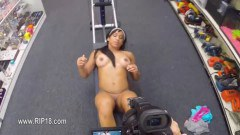 Brunette amateur working out naked at the pawn shop - duration 08:04