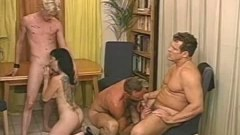Tattooed Brunette Having Foursome With Bisexuals - duration 06:09
