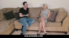 Skinny blonde sister doing her stepbrother - duration 08:31
