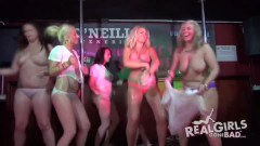 Topless amateurs get hosed on stage at a party - duration 09:59
