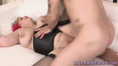 Busty BBW blonde licked and fucked hard by new lover - duration 09:59