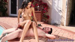 Tempestuous babe Chloe Amour footjob and handjob by the pool  - duration 09:59
