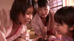 Hot Japanese geishas sucking dick in oriental fourway  - duration 07:59