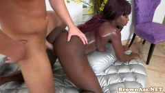 Big ass nubian babe doggystyled by a hard white cock  - duration 11:59