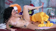 Veruca James massage cutie gets drilled by the evil clown  - duration 07:59