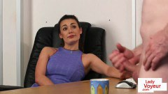 Posh boss peeping pam commanding her slave to tug - duration 06:02