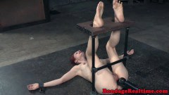 Redheaded BDSM sub nipple clamped and toyed  - duration 07:59