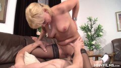 Busty blonde German wife bounces on hubby's dick  - duration 07:59