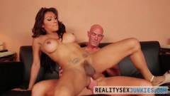 Busty brunette shemale rides bald guy's schlong bareback - duration 06:14