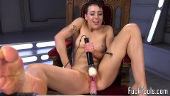 Kinky model with tattoos takes a fucking machine inside her cunt  - duration 09:59