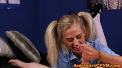 Provoking teenie dominates slave during cfnm - duration 06:05