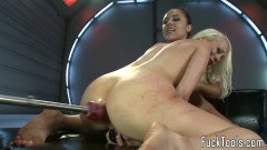 Busty lesbo licks beaver before toy toying with machines  - duration 09:59
