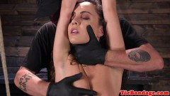 Tied up domination slave beaten with bastinado - duration 09:59