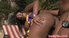 Busty ebony cheerleader doggystyled outside by white dude - duration 06:08