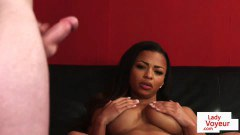 Black British peeping tom teases slave with her bosoms - duration 06:02