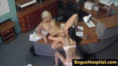 Inked beauty fingers nurse while physician watches - duration 06:59