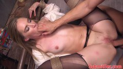 Blonde restrained sex slave gets double penetration  - duration 09:59