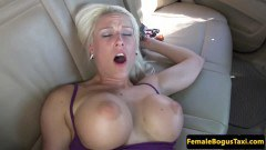 Busty Czech cabbie babe gets fucked on the backseat and jizzed  - duration 06:59