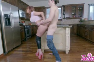 Hot MILF Sabrina Cyns fucked in the kitchen after blowjob
