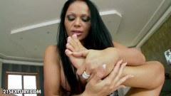 Foot fetish brunette rubbing her pussy