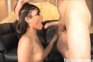 Skinny Leilani Vega in face fuck