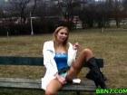 Blonde girlfriend sucks dick in the park