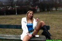 Blonde girlfriend sucks dick in the park