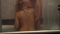 Chubby blonde in shower action