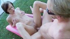 Skinny teen Bikini lady Fuck In Garden