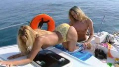Lesbian on boat action