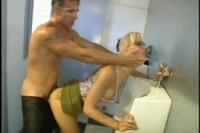 Cony Ferrara in public toilet sex