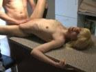 Blonde amateur in kitchen sex action