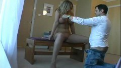 Big boobed blonde gets stud off