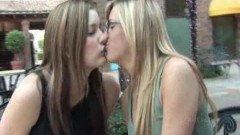 Hot chicks kissing in public