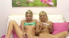 Little Summer masterbates with her blonde friend