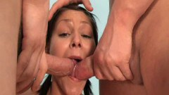 Brunette in pigtails anal doggied 3way