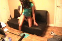 Frilly brunette gets pounded on the phone