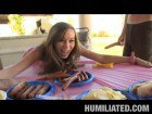 Sausage and mustard humiliated girl