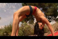 Charming young latina outdoor action