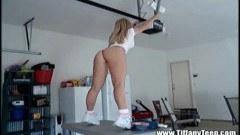 Amateur blonde Tiffany strips in garage