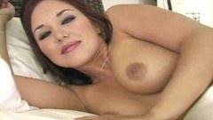 Sweet babe Zoe mashing her large boobs